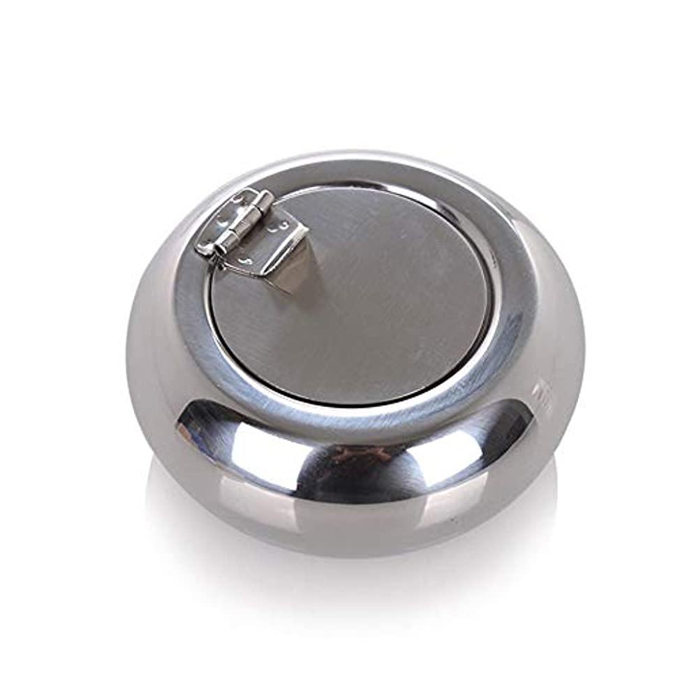 ソロアスリート爬虫類ドラム型のステンレス鋼の灰皿防風カバーヨーロッパの灰皿の人格トレンド金属煤創造的な家、高品質のステンレス鋼、防風カバー灰皿ゴールドブラック色 (色 : 銀, Size : S)