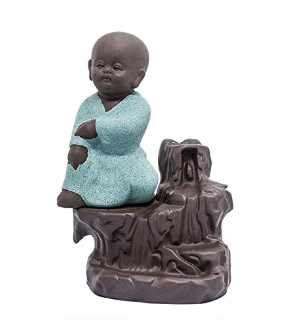 放射性毛皮泥だらけ逆流香炉タワーCones Sticks Little Monkホルダーセラミック磁器Buddha Monk Ashキャッチャーby Simon & # xff08 ;グリーン& # xff09 ;