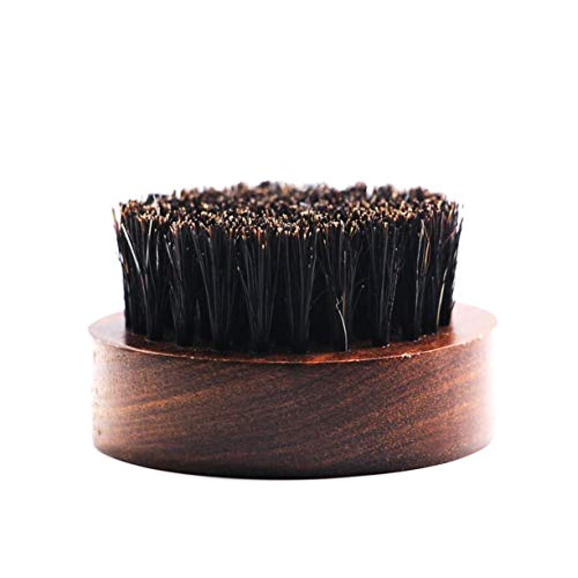 男性用のひげブラシ丸い木製ハンドルひげの油とバームに最適ナチュラルソフトヘアブリストル-ブラウン