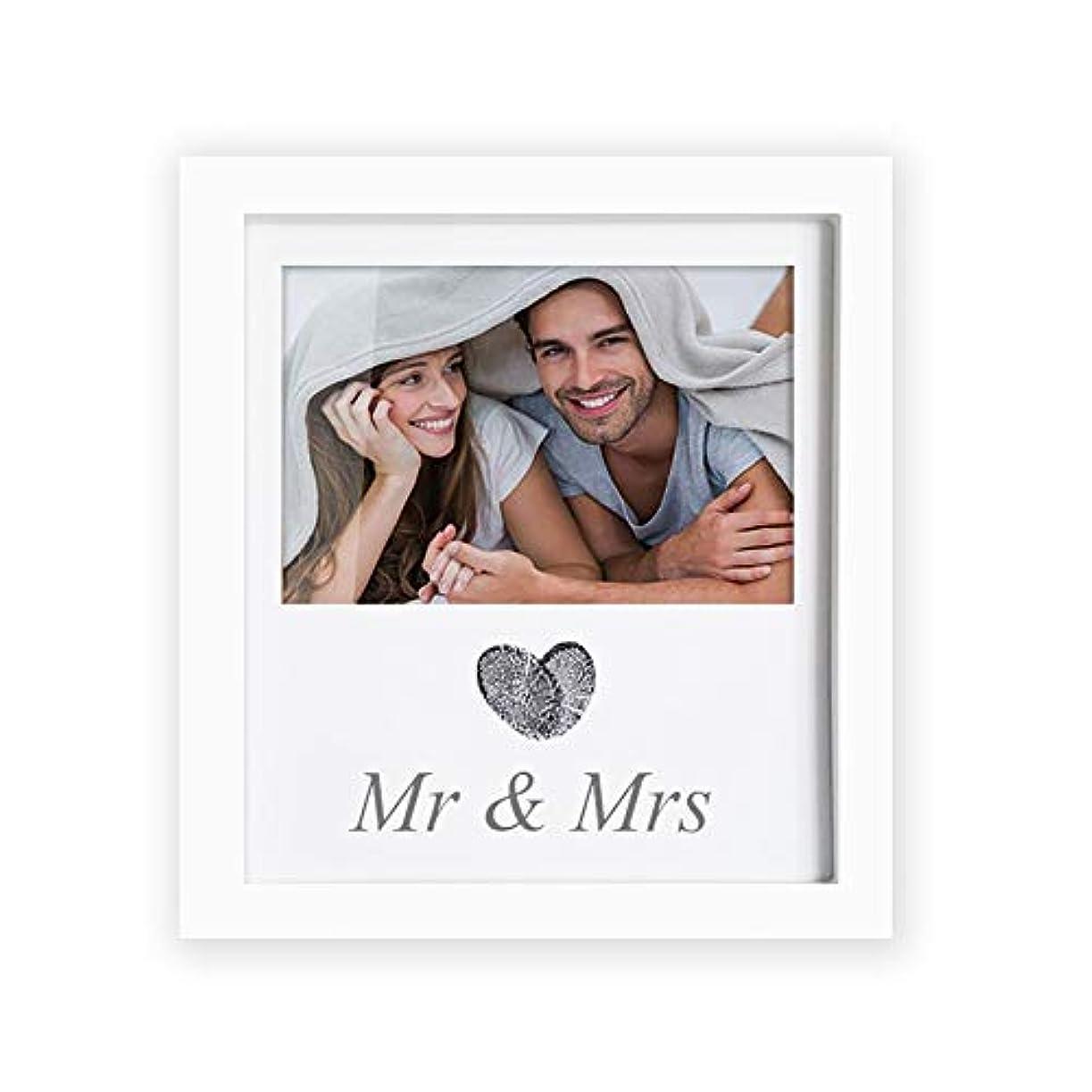 モットー研磨ブラザー手形足形フレームです 拇印ウエディング記念品フォトフレームウェディングギフトのために新婚夫婦 ベビー ギフト 新生児 記念 ギフト (Color : White, Size : One size)