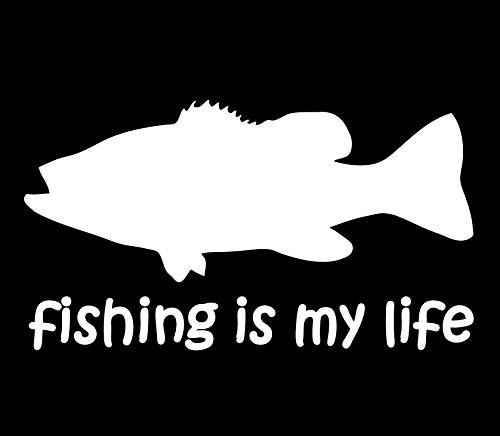 【オルルド釣具】フィッシングステッカー 「 fishing is my life (訳:釣りは我が人生!)15×8.5cm 」 貼付用ヘラ付 クーラーボックス・車などのドレスアップに最適 釣りステッカー カーステッカー デカール シール 魚 ロゴ 文字 外装 デザイン モノクロ (ホワイト・左向きと右向きセット) qb600018a01