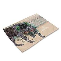 ランチョンマット 食事マット テーブルマット プレイスマット 滑り止め 断熱 防汚 シンプル 北欧 可愛い おしゃれ 子供用 家庭用 レストラン用 食卓飾り 綿麻 四枚セット/六枚セット#201 (色 : 2, サイズ : 4pc)