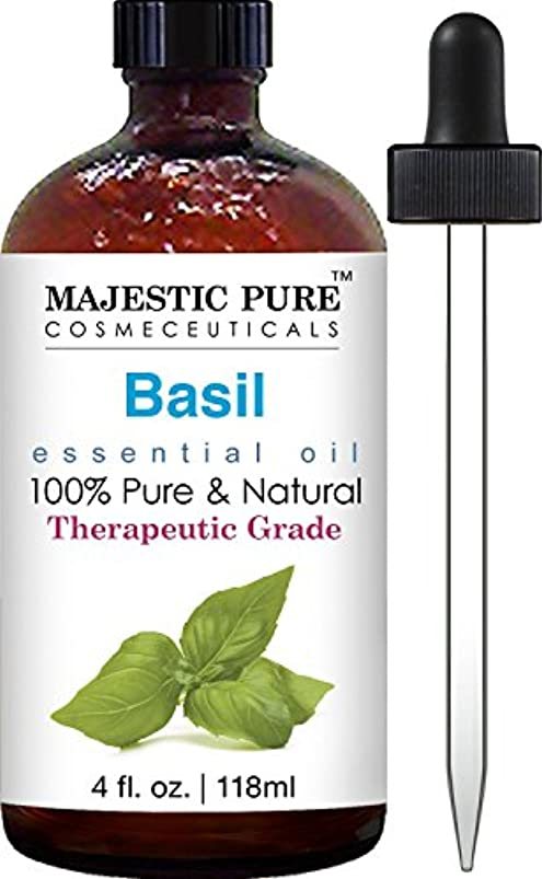 Basil Oil, Therapeutic Grade, Pure and Natural Basil Essential Oil, 4 fl. oz バジルオイル