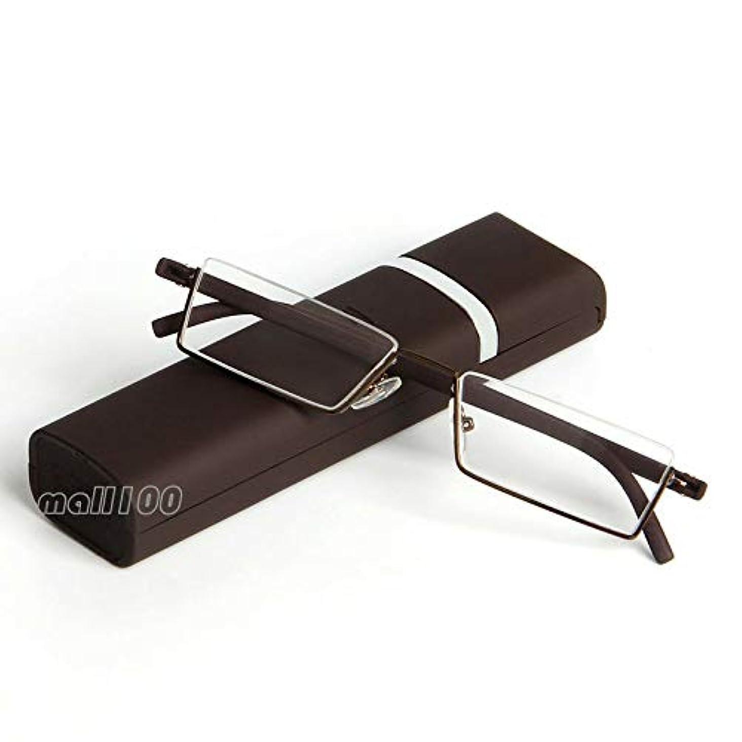 おとうさん口一族FidgetGear 高齢者の箱のためのフレームと高品質ブルーユニセックス弾性老眼鏡 褐色