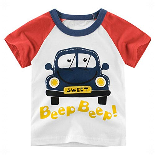 Ancia Jolly Baby Boys Toddler Boy Kids 2 Pieces Clothing Set T-Shirt Denim Shorts Summer Outfits - Multi - 7-8 Years