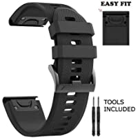 H.J.G SUPPLIES 26mm Easy Fit Silicone Replacement Watch Band Garmin Fenix 5X,Fenix 3 Quatix 3,Tactix Bravo,Foretrex 701, 26mm-Black