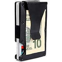 Minimalist Aluminum Wallet, Slim Money Clip Metal Wallet RFID Front Pocket Wallet (Matt Black)