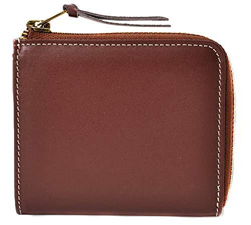3555917aedad ブラウン F レザー l字ファスナー コインケース コンパクト 小銭入れ ミニ財布 メンズ 財布 本