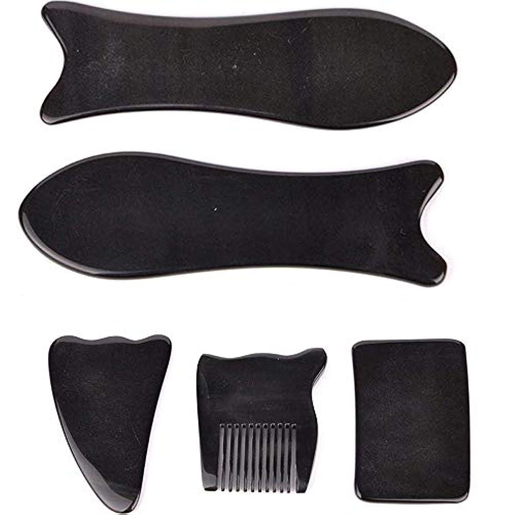 追跡個人的な暴徒Echo & Kern 5点セット中国伝統かっさ美容マッサージ板 水牛角かっさプレートBLACK OX HORN 5 PCS optik Natural Water Buffalo Horn Gua Sha Board-Reduce...