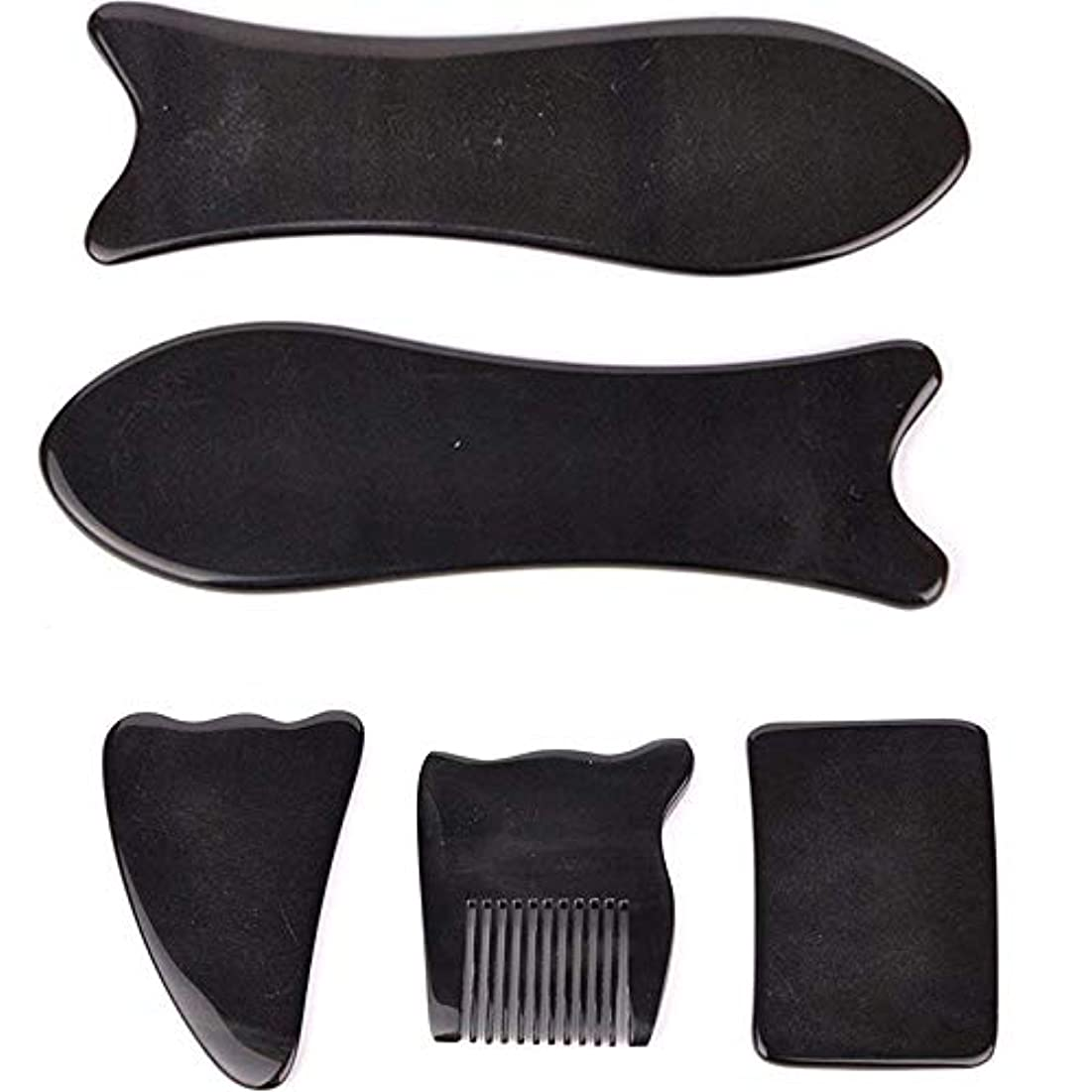 キャンパス知恵はがきEcho & Kern 5点セット中国伝統かっさ美容マッサージ板 水牛角かっさプレートBLACK OX HORN 5 PCS optik Natural Water Buffalo Horn Gua Sha Board-Reduce...
