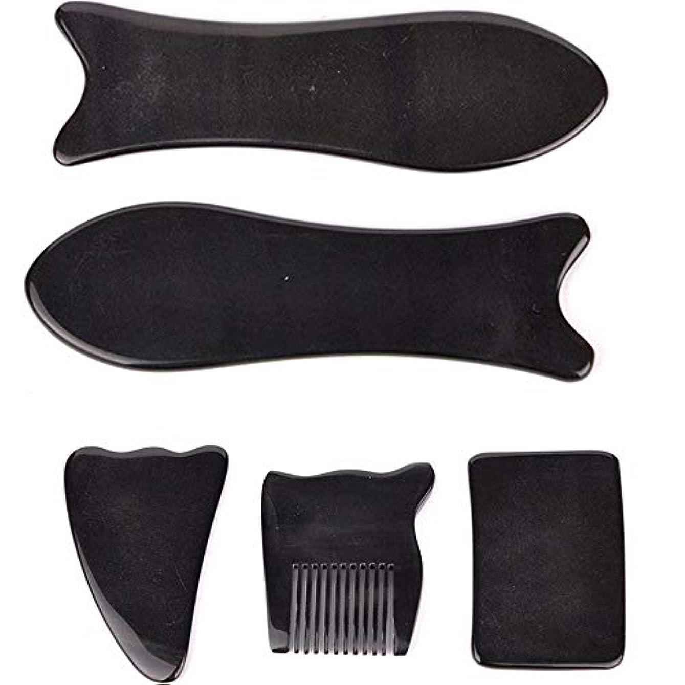 れるしつけペーストEcho & Kern 5点セット中国伝統かっさ美容マッサージ板 水牛角かっさプレートBLACK OX HORN 5 PCS optik Natural Water Buffalo Horn Gua Sha Board-Reduce...