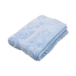 EFFECT 今治産 タオルケット 無撚糸 ジャガード織り サイズ 140×190cm 日本製 (ブルー)