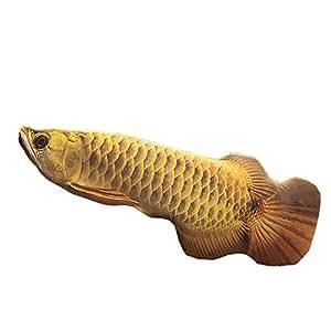 STARDUST 超リアル アロアナ抱き枕 クッション 可愛い 魚 インテリア プリント 枕 おもしろ (Lサイズ イエロー) SD-AROAKUSHO-YE-L