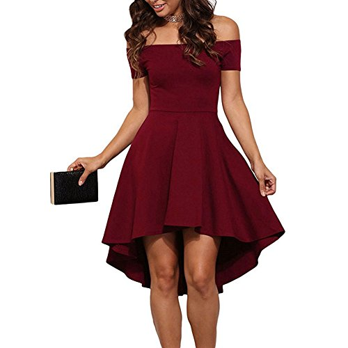 Women's Off The Shoulder Party Cocktail Homecoming Formal Skater Dress (L, Red)