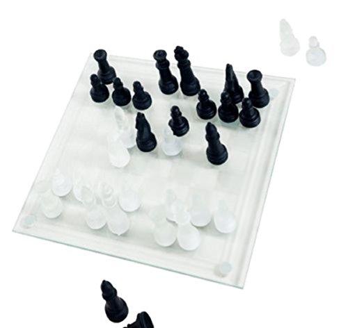 新しいガラスチェスセットエレガントなPieces andチェッカーボードゲームブラックホワイトつや消し