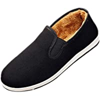 XFentech Mens Warm Flat Shoes Loafers - Casual Espadrilles Fur Lined Flat Old Beijing Cloth Shoes Sneakers