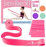 (Dance Stretch Band, Pink) - RubyStretch Set of 2 Stretch Bands for Exercise for Kids & Adults + Gift Box - Stretching Bands for Ballet, Dance, Gymnastics and Flexibility