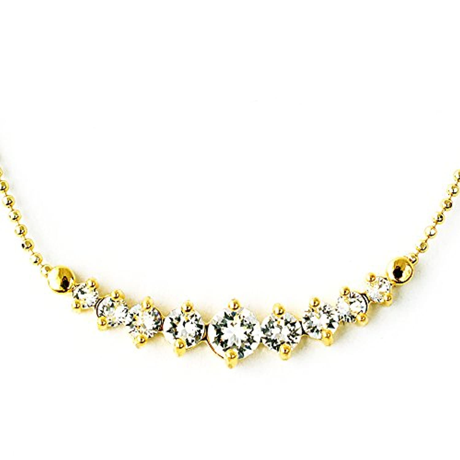 One&Only Jewellery スワロフスキー エレメンツ グラデーション ネックレス K18GP 正規ストーン採用 (イエロー)
