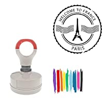 Welcome To France Paris With Iffel Tower Illustration Round Badge Style Pre-Inked Stamp, Light Blue Ink Included