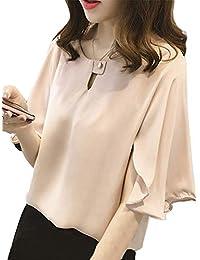 [ニーマンバイ] フレア袖 ドレスシャツ 半袖 とろみ素材 シフォン ブラウス かわいい レディース M?4XL