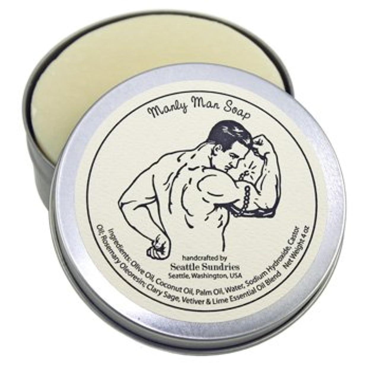 アイデアチラチラするフローティングシアトル石鹸 Manly Man / 雄々しい男 Seattle Sundries社製