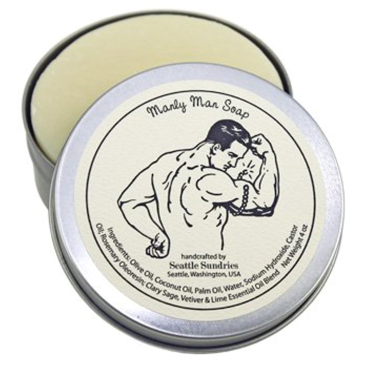 アレルギー性砂漠長さシアトル石鹸 Manly Man / 雄々しい男 Seattle Sundries社製