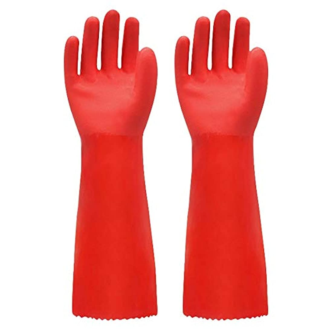幸運規制する夢BTXXYJP キッチン用手袋 手袋 掃除用 ロング 耐摩耗 食器洗い 作業 炊事 食器洗い 園芸 洗車 防水 手袋 (Color : RED, Size : L)