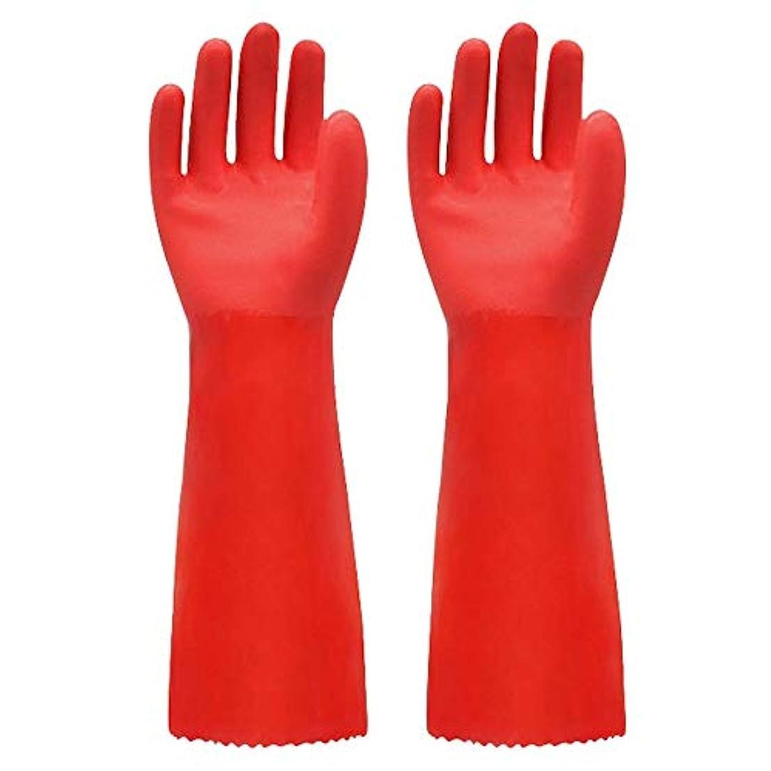 餌乗って生命体ニトリルゴム手袋 ゴム手袋長く暖かいとビロードのゴム製防水と耐久性のある手袋、1ペア 使い捨て手袋 (Color : RED, Size : L)