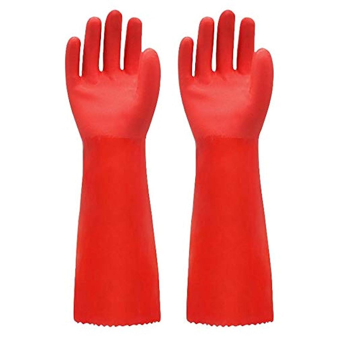 経歴バナーインサートBTXXYJP キッチン用手袋 手袋 掃除用 ロング 耐摩耗 食器洗い 作業 炊事 食器洗い 園芸 洗車 防水 手袋 (Color : RED, Size : L)