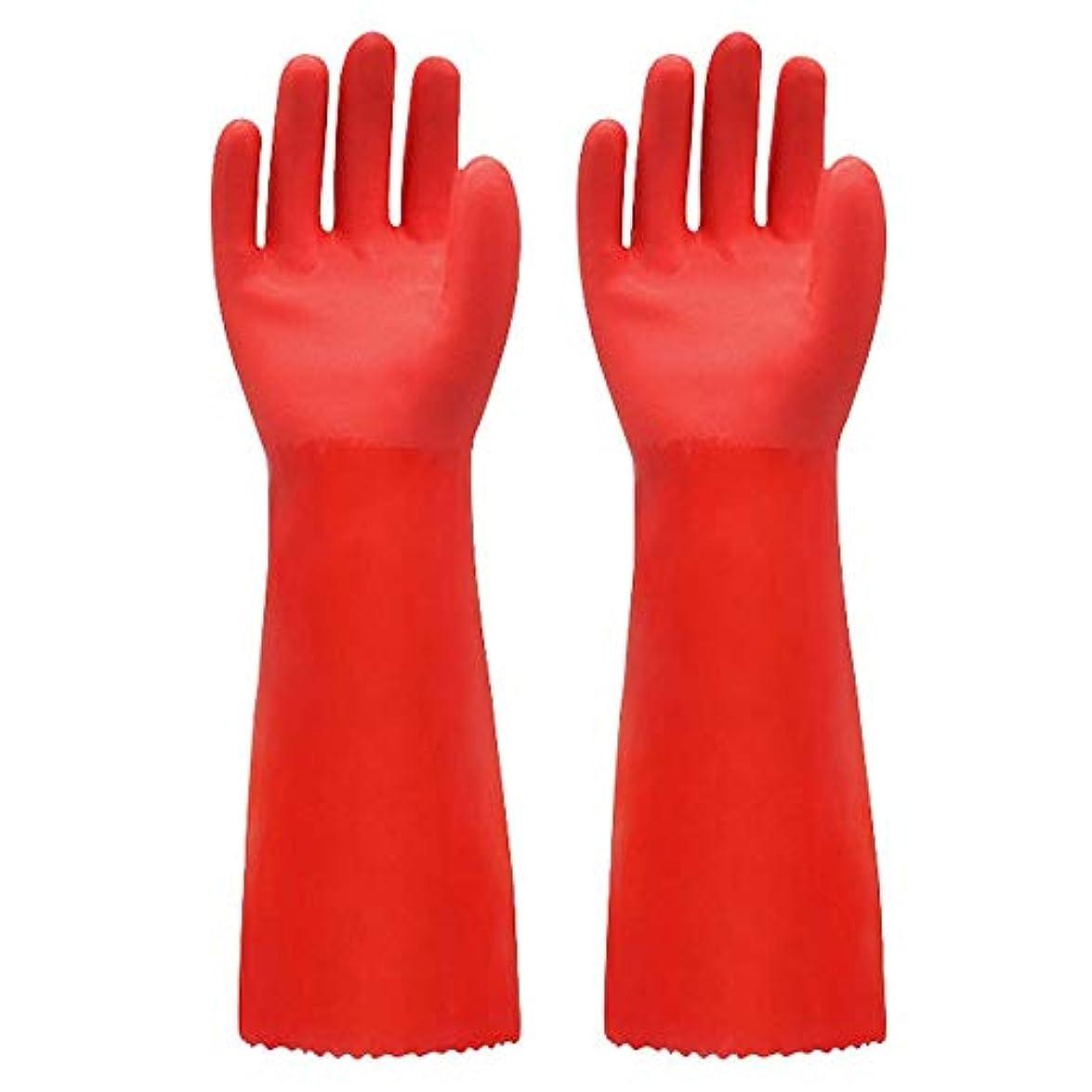 容器消費者熟達ニトリルゴム手袋 ゴム手袋長く暖かいとビロードのゴム製防水と耐久性のある手袋、1ペア 使い捨て手袋 (Color : RED, Size : L)