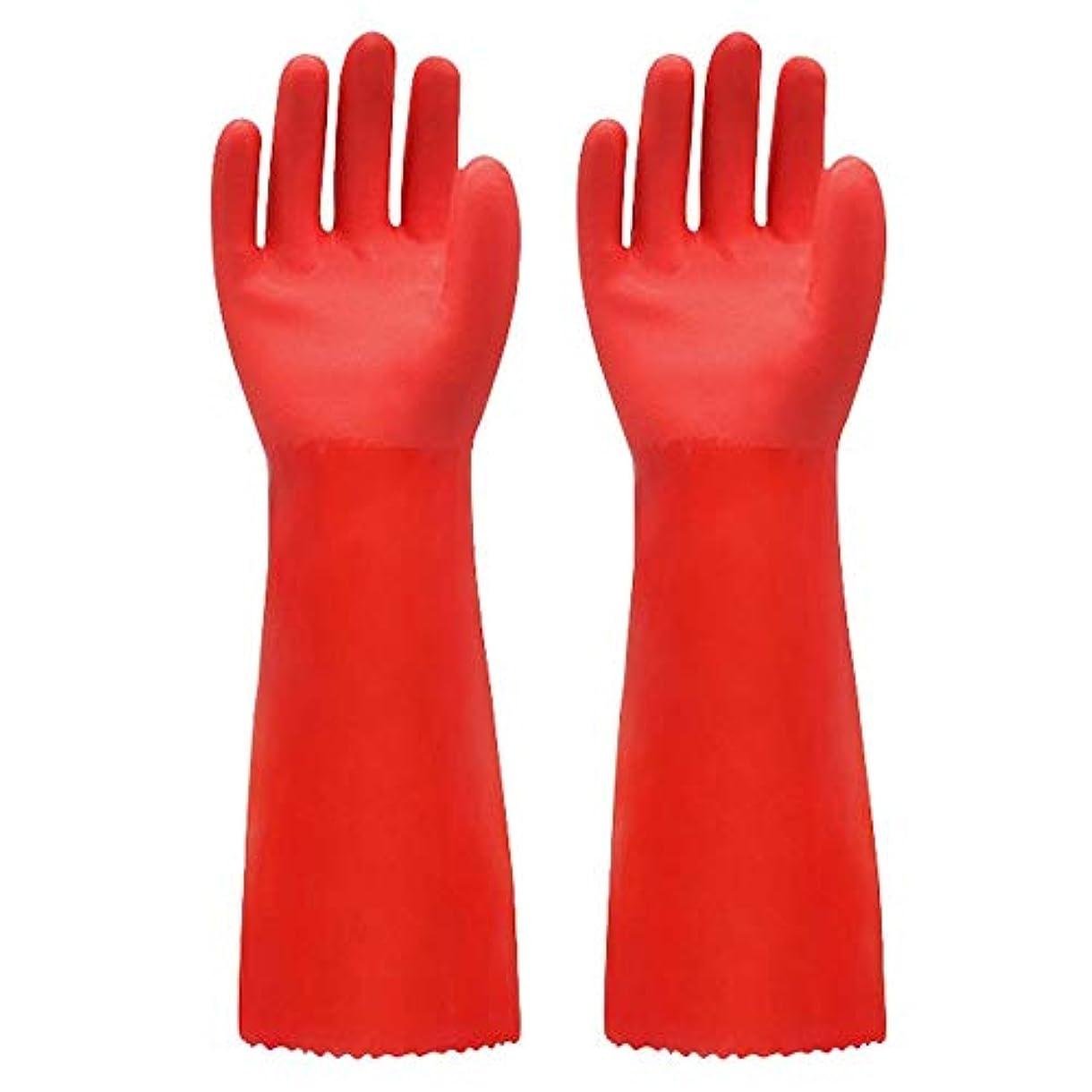 正確さぴったり神BTXXYJP キッチン用手袋 手袋 掃除用 ロング 耐摩耗 食器洗い 作業 炊事 食器洗い 園芸 洗車 防水 手袋 (Color : RED, Size : L)