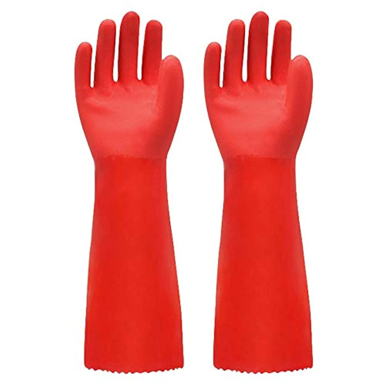 なめる脱獄セラーニトリルゴム手袋 ゴム手袋長く暖かいとビロードのゴム製防水と耐久性のある手袋、1ペア 使い捨て手袋 (Color : RED, Size : L)
