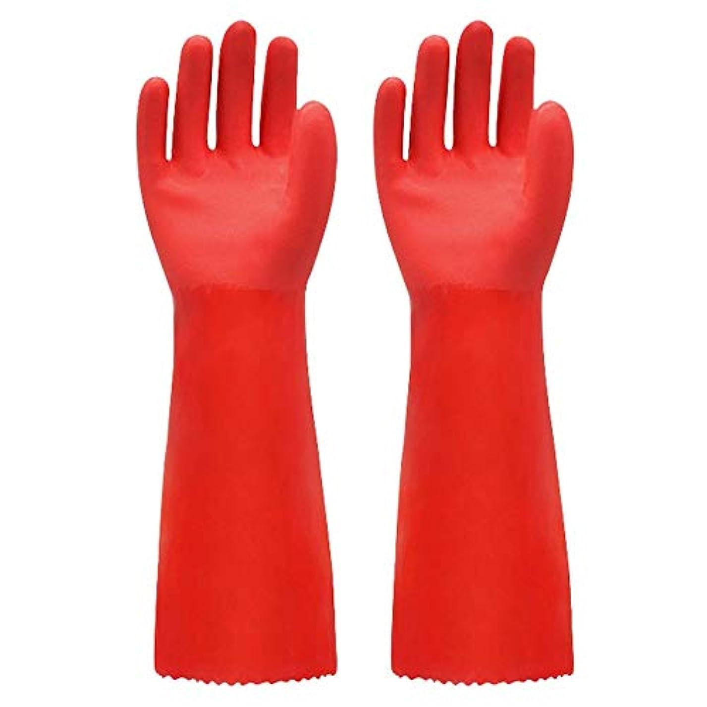 キャリッジ案件革命的ニトリルゴム手袋 ゴム手袋長く暖かいとビロードのゴム製防水と耐久性のある手袋、1ペア 使い捨て手袋 (Color : RED, Size : L)