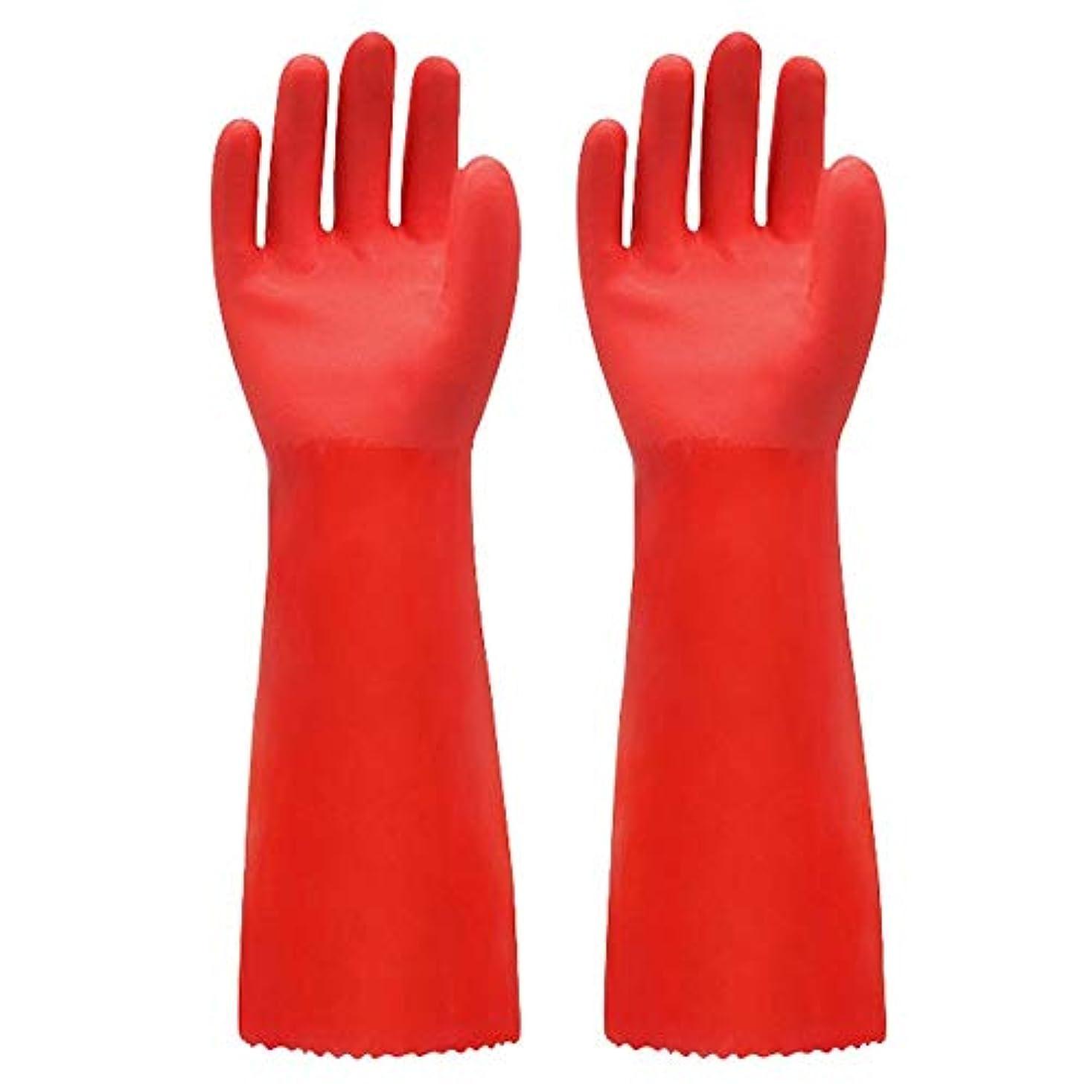 九月可能セクション使い捨て手袋 ゴム手袋長く暖かいとビロードのゴム製防水と耐久性のある手袋、1ペア ニトリルゴム手袋 (Color : RED, Size : L)