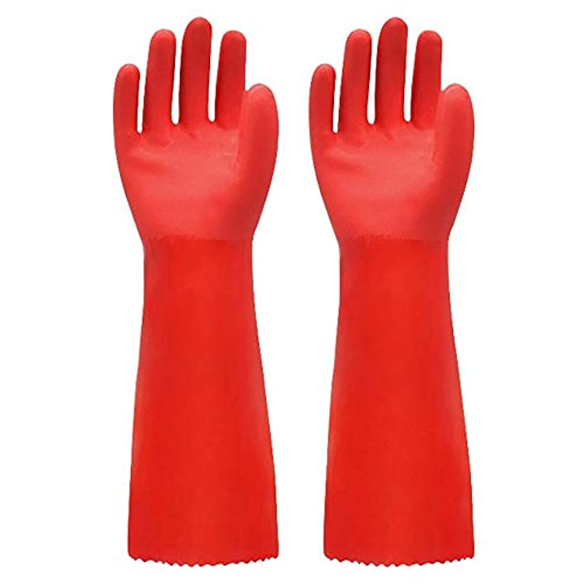 バッジスタジアム追記使い捨て手袋 ゴム手袋長く暖かいとビロードのゴム製防水と耐久性のある手袋、1ペア ニトリルゴム手袋 (Color : RED, Size : L)