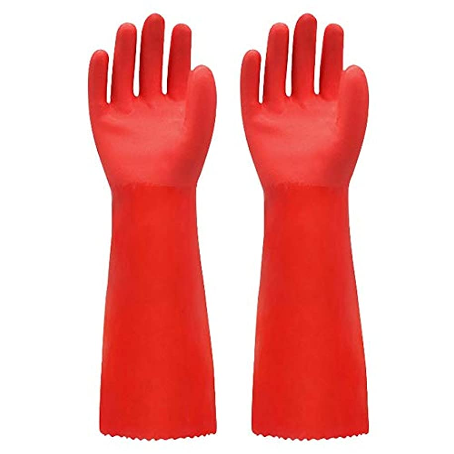 ジョージバーナード軽減する電気のニトリルゴム手袋 ゴム手袋長く暖かいとビロードのゴム製防水と耐久性のある手袋、1ペア 使い捨て手袋 (Color : RED, Size : L)