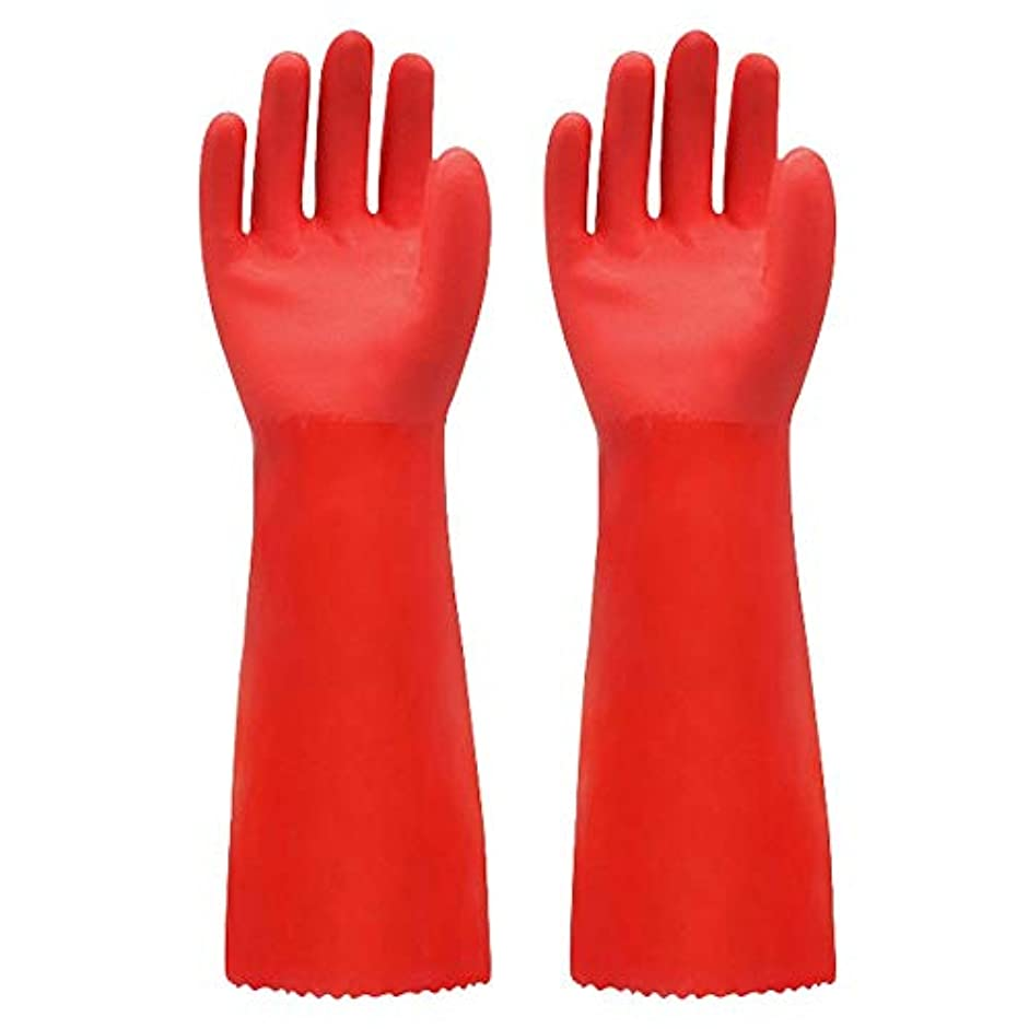 酸発疹闇BTXXYJP キッチン用手袋 手袋 掃除用 ロング 耐摩耗 食器洗い 作業 炊事 食器洗い 園芸 洗車 防水 手袋 (Color : RED, Size : L)