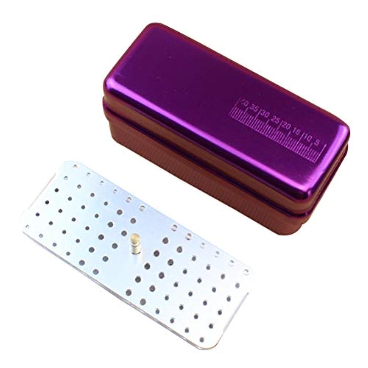 継続中チラチラするアナロジーSUPVOX 72穴歯科用バーブロックホルダーオーラルケアツール用ダイヤモンドバーホルダーブロック消毒ボックス(パープル)