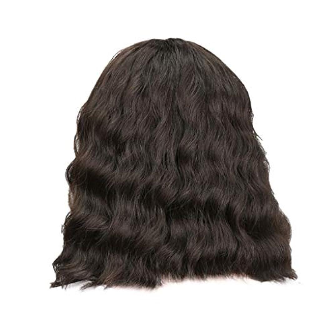 ドアミラーアクセス狂う女性の黒の短い巻き毛のかつらボブ波かつらローズネット34 cm