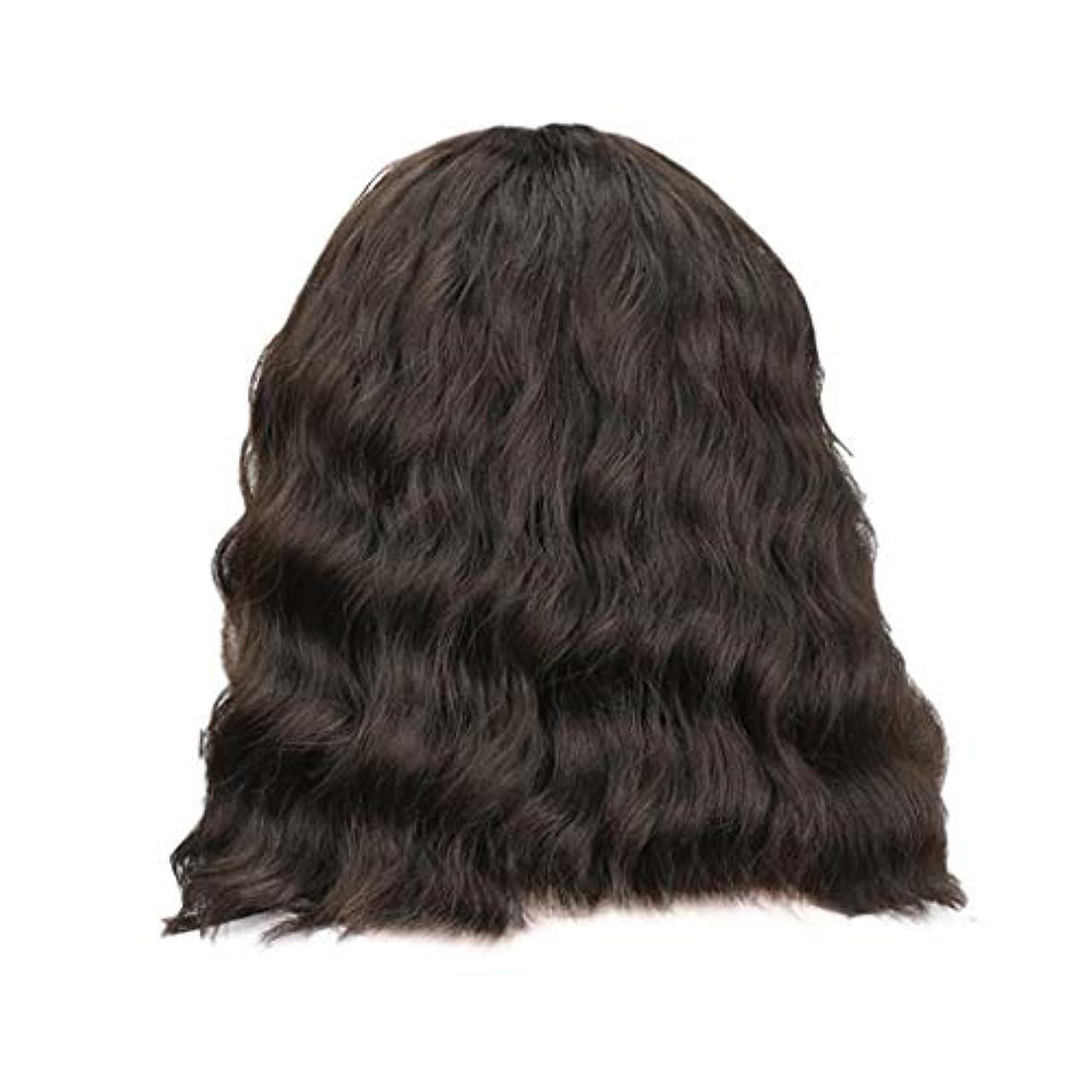 お茶キャンベラ構成員女性の黒の短い巻き毛のかつらボブ波かつらローズネット34 cm