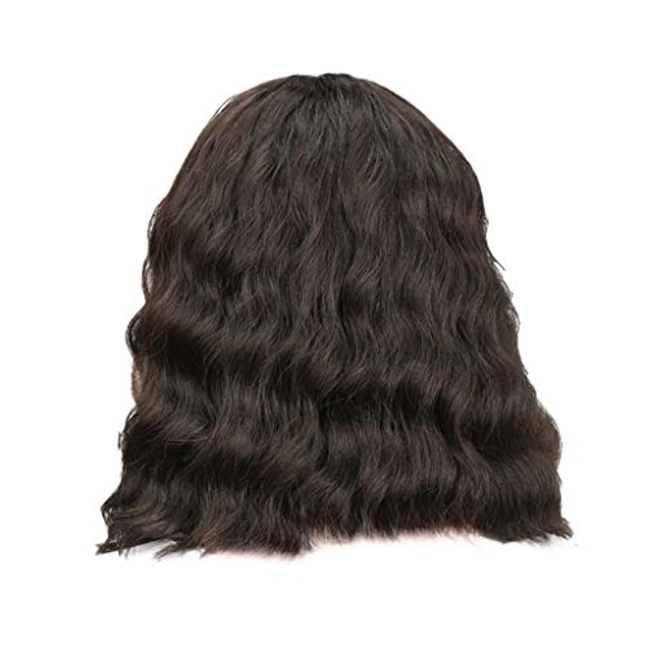 順応性のある口スリット女性の黒の短い巻き毛のかつらボブ波かつらローズネット34 cm