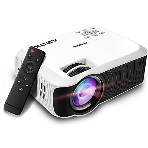 ABOX プロジェクター 小型 家庭用 2400lm 1080P HD 800x480解像度 台形補正 日本語説明書 2018最新モデル