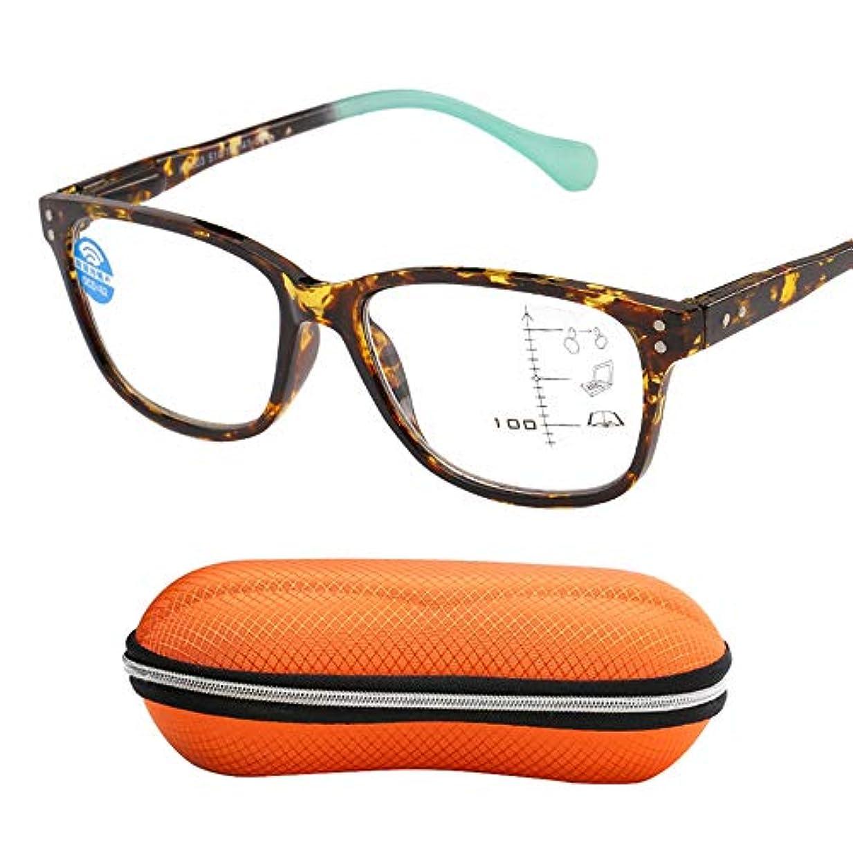 リング名義でボンドプログレッシブマルチフォーカスインテリジェント老眼鏡、アンチブルー UV/放射線/抗疲労コンピュータ老眼鏡、携帯用折りたたみ老眼鏡、読書に適した、ウォーキング、旅行、ショッピング