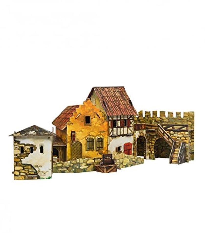 凝縮するアブストラクトシャーロットブロンテKeranova Keranova375 Clever Paper The Mediaeval Town Square Market 3D Puzzle