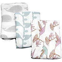 Organic Cotton Baby Blanket - Elephant Design. Free Gift Box by The Guilford Company