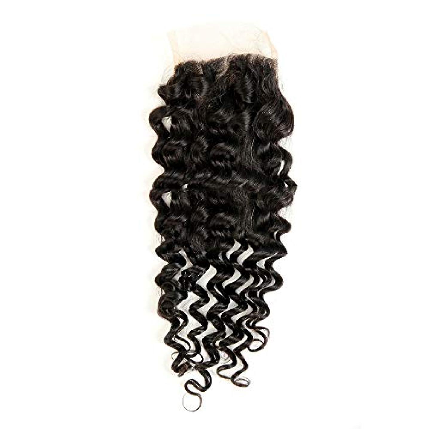 しつけこだわりつかむWASAIO 4×4インチディープウェーブレース閉鎖ブラジルバージンレミー人間の髪の毛の閉鎖ナチュラルカラーウィッグ (サイズ : 18 inch)