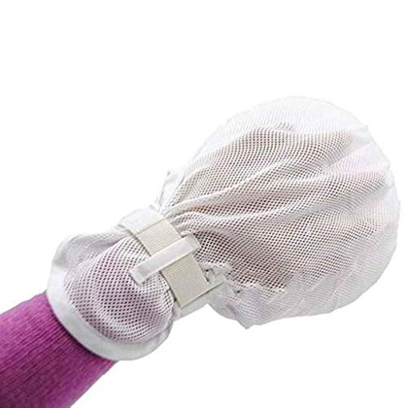 プラカードスタンド理容室フィンガーコントロールミット、手の感染防止用プロテクターミット医療用制限患者用ユニバーサルフィンガーハム固定手袋