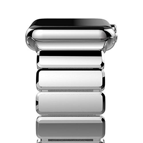 Oittm Apple Watch Series 4 バンド 44mm アップルウォッチ 交換バンド ステンレススチール アダプター付き ビジネス Apple Watch ベルト 全機種対応 Apple Watch Series 4/3/2/1/ 44/42mm に対応 (明るい シルバー)