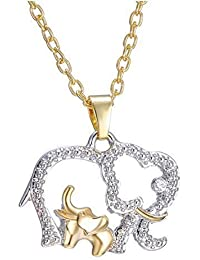 iTechElife New Chic Crystal Charm Mom & Baby Elephants Pendant Necklace Mother's Day Gift