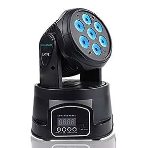 BETOPPER ステージライト 舞台照明 LED 回転 音声起動 7x8W RGBW ムービングヘッド DJ照明 DMX512 ミニ ムービングライト 照明ライト ディスコライト パーライト ストロボ 照明/演出/舞台/ディスコ/パーティー/KTV/結婚式/クラブ/バー イルミネーション